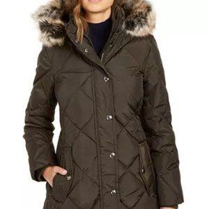 Puffy winter coat London Fog dark brown, women M